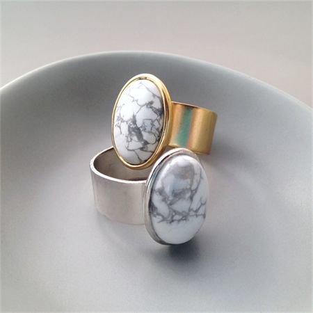 Howlite Gemstone  Adjustable Ring in Silver or Gold
