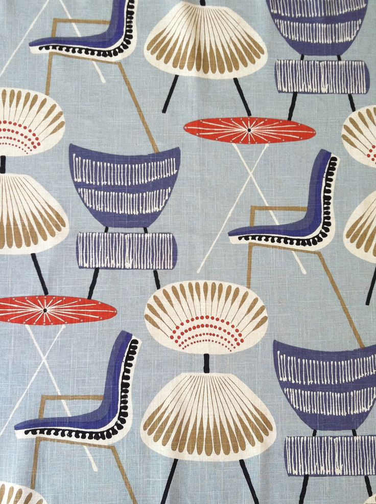 fabric textiles prints design upholstery {via @Ronnie Laine Kebert Laine Kebert Laine Kebert Laine Kebert Gold Our Mid-Century Modern print of whimsical chairs.}