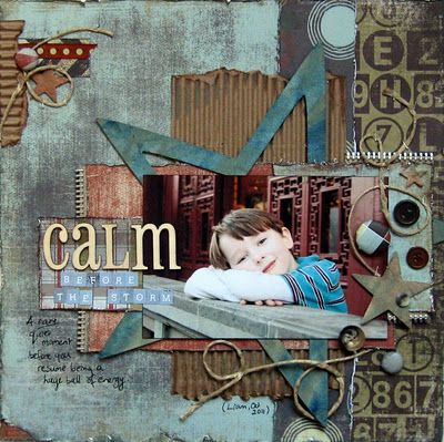 "by JJ Sobey scrapbook layout | boy/masculine pages aways make a layout a little ""more"" - when use of corrugated cardboard is used 
