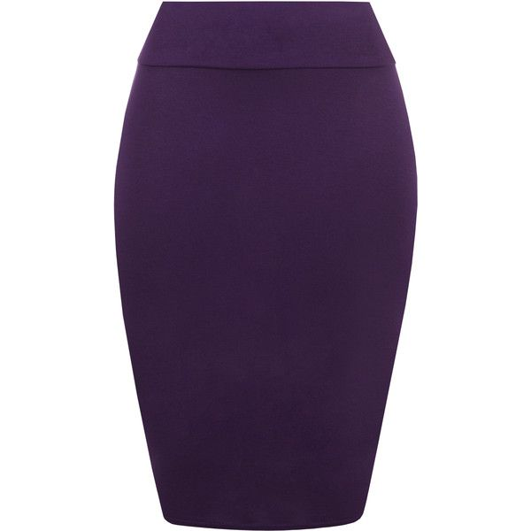 Tonya Basic Bodycon Pencil Skirt (£8) ❤ liked on Polyvore featuring skirts, purple, high-waist skirt, bodycon midi skirt, high waisted midi skirt, high waisted skirts and purple jersey