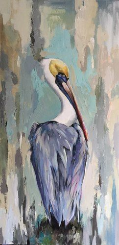 Pelican by Anya Lincoln-Dunn. Size: 24x48in. Medium: acrylic on canvas .