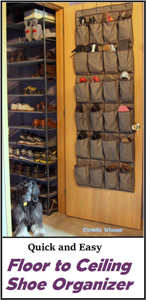 Click the photo to read the easy step by step tutorials how to make a floor to ceiling wall of shoe organizer closet shelves and tips for storing and organizing Halloween, cosplay, and historical costumes.