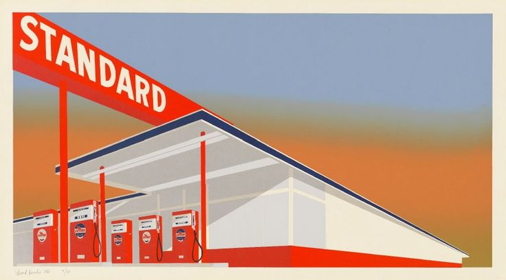 'Visions of America' offers up a patriotic showcase, from Paul Revere to the Guerrilla Girls.  Ed Ruscha, <i>Standard Station</i>, 1966, screenprint, National Gallery of Art, Washington, Reba and Dave Williams Collection, Florian Carr Fund and Gift of the Print Research Foundation(Ed Ruscha/National Gallery of Art)
