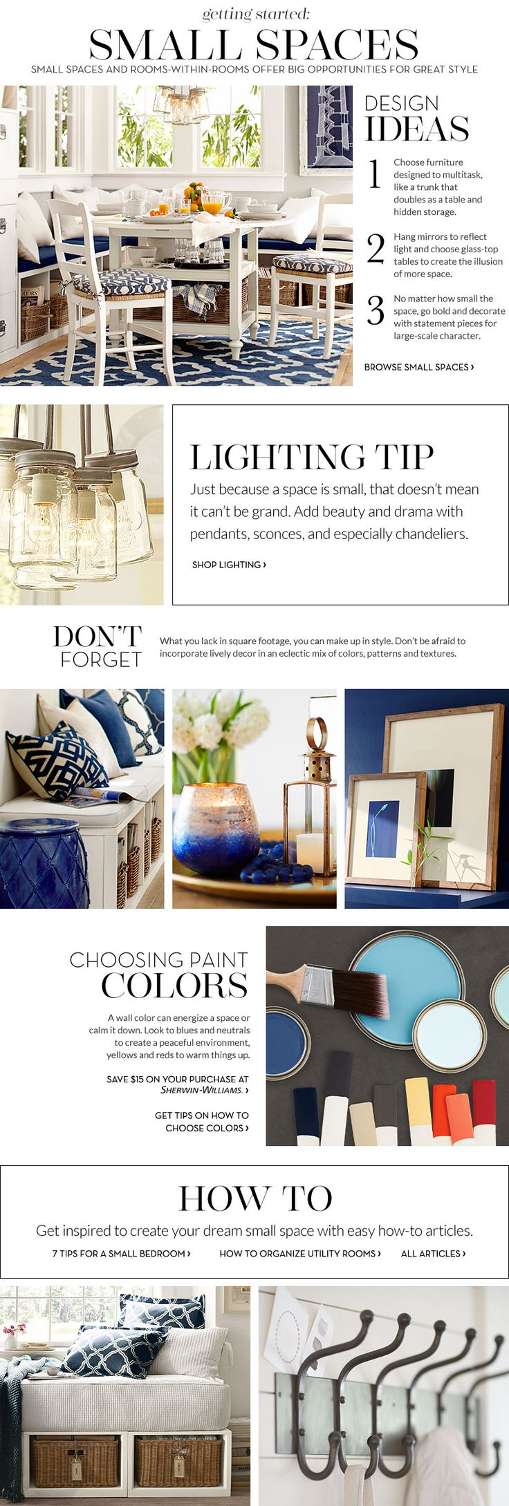 Small Spaces Inspiration & How to Decorate Small Spaces   Pottery Barn