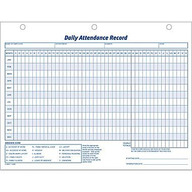 Adams® Daily Attendance Records, 11in. x 8-1/2in.