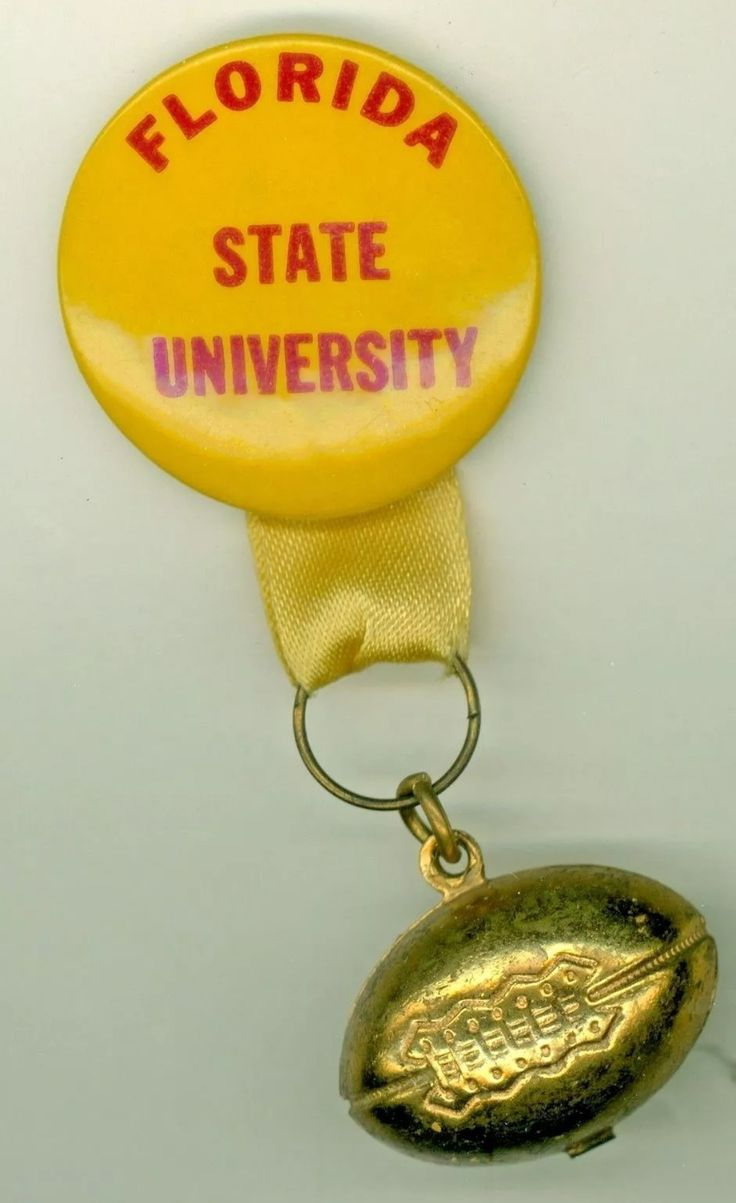 Vintage Seminoles Boosters button with football charm