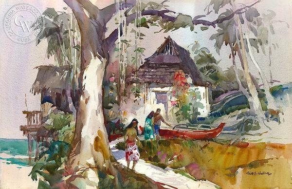 Huts at Heeia, Oahu, California art by Robert E. Wood. HD giclee art prints for sale at CaliforniaWatercolor.com - original California paintings, & premium giclee prints for sale