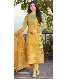 Vibrant Yellow And Green Cotton Straight Suit.