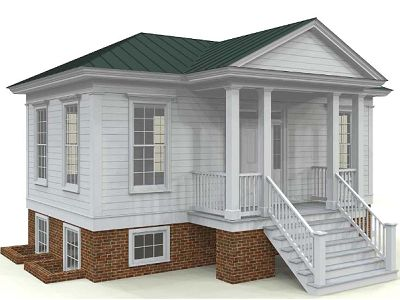 Southern Piedmont Cottage - This 1700s style has a hipped roof, entablatures and pilasters, and a gabled front porch. Measures  806 sq. ft. with an 87 sq. ft. porch. (Pennywise)