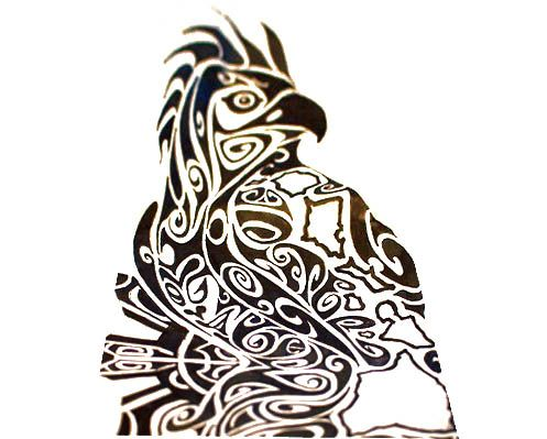 A domineering eagle design in Polynesian style.