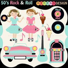 Conjunto de imágenes prediseñadas de Rock and Roll años por riefka