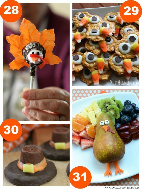 Tootsie Pop Turkey, Turkey Pretzels, Rolo Pilgram Hats, Fruit Turkey and 31 Days of Thanksgiving Kids Food Craft Ideas on Frugal Coupon Living