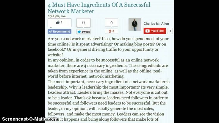 4 Must Have Ingredients Of A Successful Network Marketer