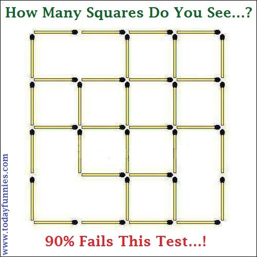 """This Is Very Interesting Picture Of A Matchsticks Puzzle. In This Funny Picture A Question Is Challenged That """"How Many Squares Do You See…?"""" Be The First To Accept This Challenge And Put Your Answer In The Comments Box. Almost 90% People Fail In This Challenging Test…!"""