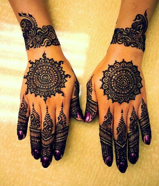 Bridal henna or mehndi with manicure. #IndianBridalFashion