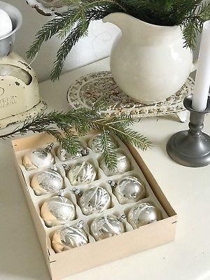 Antik Weihnachtsschmuck Christbaumschmuck Kugeln 12St.Set Silber ...