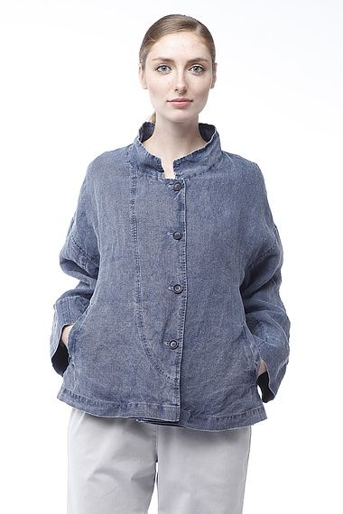 OSKA Jacket Joia:: Special treatment makes this linen fabric look like stone washed denim #SS15 #oskanewyork