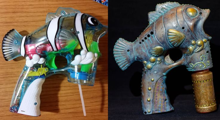 Holy smokes. I've been wondering if those cheesy animal-shaped bubble guns could be repainted into anything cool and damn if this artist didn't NAIL it. Wow.