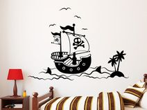 Wandtattoo Wandaufkleber Piratenschiff Pirat