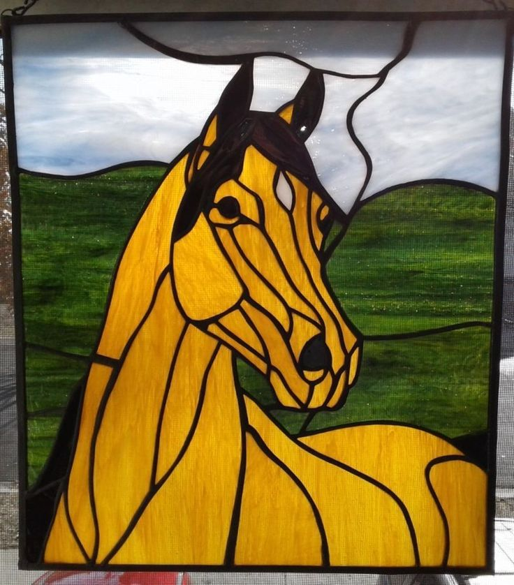 Stained glass horse window panel #StainedGlassHorse