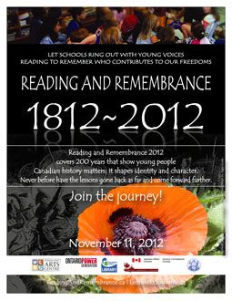 Copy of a promotional poster created for the Reading and Remembrance program in 2012.