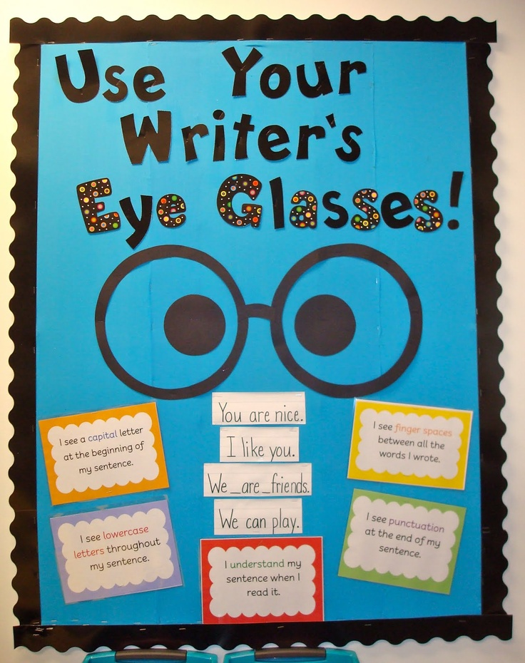 I like this! They could use lenseless glasses while they edit!hWriting Bulletin Boards Ideas, Writing Center, Cute Ideas, Writer Workshop, Languages Art, Writing Reminder, Writers Eye, Writers Workshop, Eye Glasses