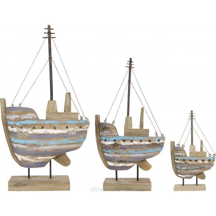 Maqueta de barco con madera reciclada rustica decoraci n - Decoracion de barcos ...