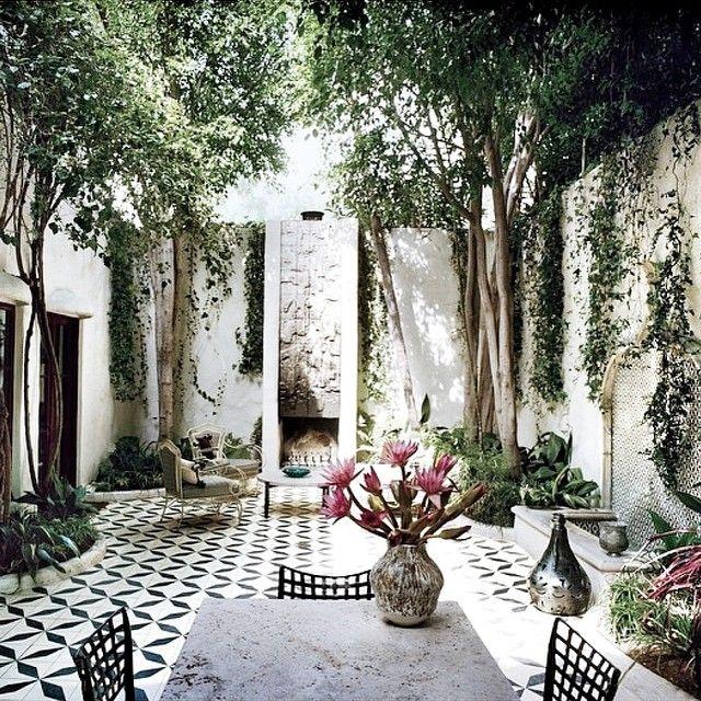 """Patio con piso, arboles ficus, mesa y sillas, jardinera blanco y negro"""""""