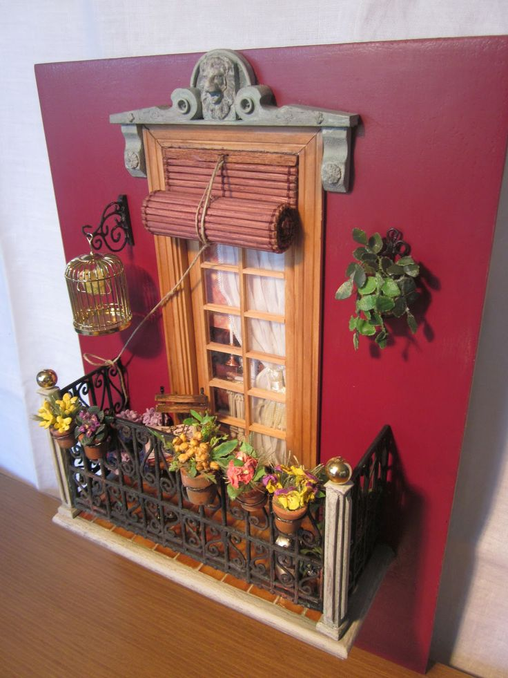 Cute window and balcony front for miniature village