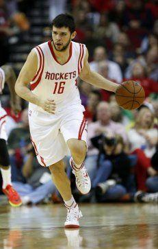 Houston Rockets forward Kostas Papanikolaou (16) runs the ball during the second half of an NBA basketball game at Toyota Center, Saturday, Nov. 1, 2014, in Houston. ( Karen Warren / Houston Chronicle )