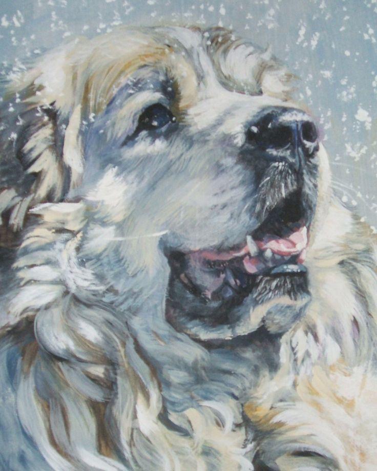 Great Pyrenees art print CANVAS print of LA Shepard painting 8x10 dog art