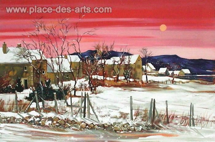 Village sous la neige en Bourgogne, Lithograph, Signed and numbered in pencil, by the painter, Georges, HOSOTTE