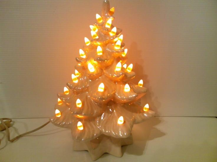 Glazed Ceramic Lighted Christmas Tree Decoration 1980s