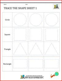 Free shape worksheets for kindergarten Trace the Shape 1
