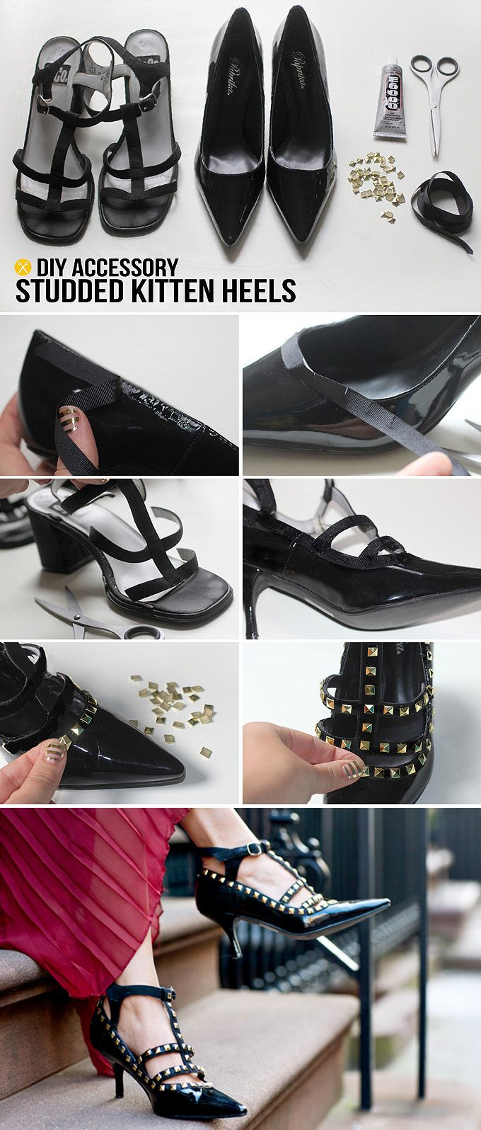 DIY Studded Kitten Heels ... Find 20 more DIY ideas to rock Christmas party #DIYCrafts