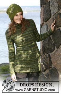 """DROPS long jumper in """"Fabel"""" and """"Vivaldi"""" and Hat in 2 threads of """"Alpaca"""". Size S to XXL. ~ DROPS Design"""