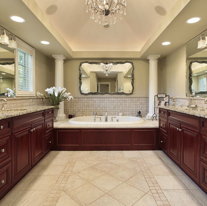 21 photos of master bathroom designs page 2 of 2 zee for Bathroom decorating ideas cherry cabinets