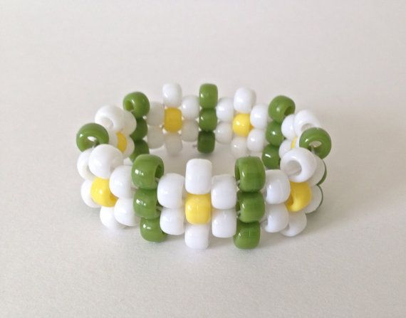 White Daisy with Green Leaves Kandi Bracelet  by DaisyDance, $6.99