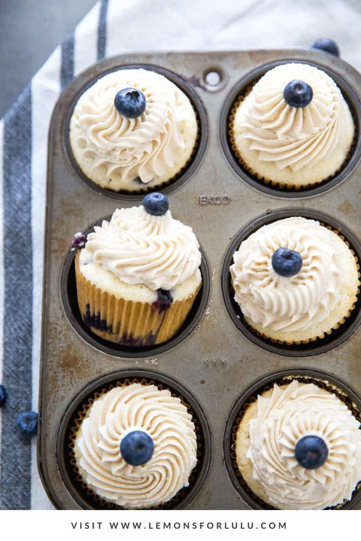 Soft and delicate blueberry cupcakes are made with thick and fresh blueberries … -…