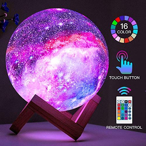 Brightworld Moon Lamp Kids Night Light Galaxy Lamp 5 9 Inch 16 Colors Led 3d Star Moon Light With Wood Stand Remote In 2020 Night Light Kids Kids Night Galaxy Lights
