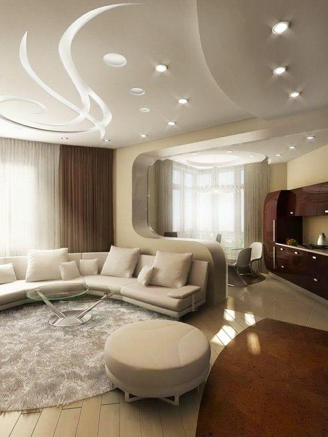 Une vue d'un salon contemporain avec un faux plafond magnifique