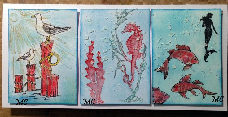 Chocolate Baroque - Mermaid Queen and Seashell Collage Rubber Stamp