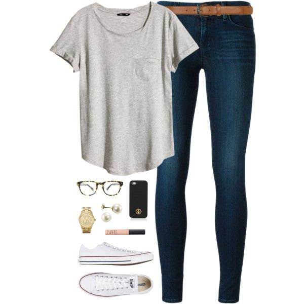 A fashion look from December 2014 featuring H&M t-shirts, J Brand jeans and Converse sneakers. Browse and shop related looks.