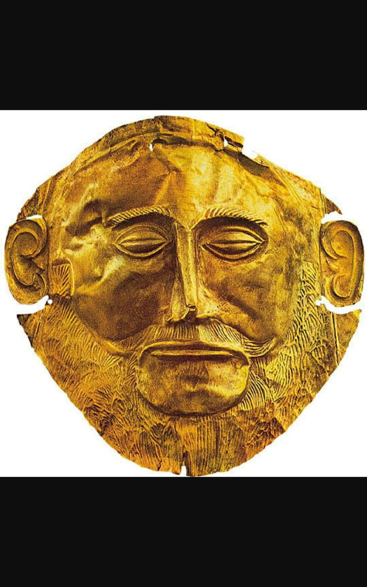 Maschera di Agamennone - Tombe reali di Micene - XVII-XVI a.C. - Lamina d'oro a sbalzo - Atene, Museo archeologico nazionale