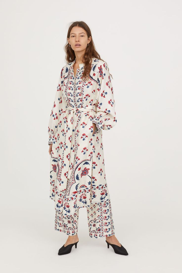 kimono aus leinenmix cremefarben gemustert damen h m. Black Bedroom Furniture Sets. Home Design Ideas