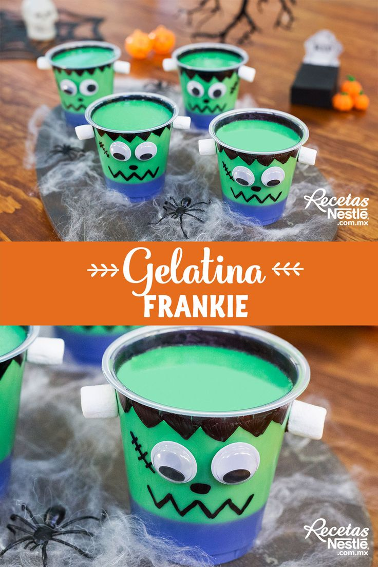 #Frankenstein dejó de dar miedo en el momento en el que se convirtio en esta tierna #GELATINA ¡Prepáralas! Frankenstein, Halloween Party Snacks, Drinks, Desserts, Ideas, Food, Recipes, Cake Recipes, Fried Donuts