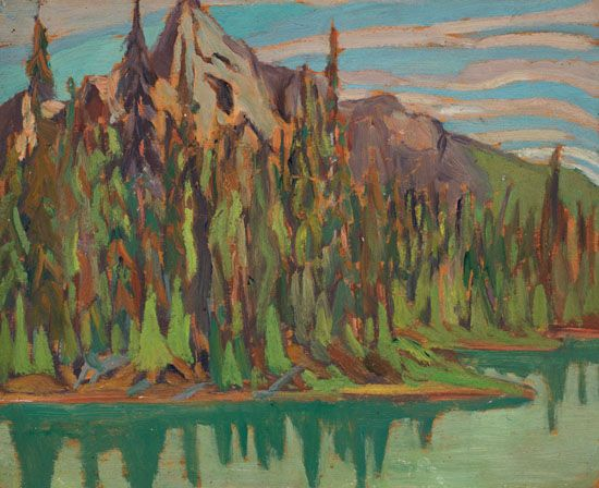 Frederick Banting - Lake in the Rockies 8.5 x 10.5 Oil on board (1936)