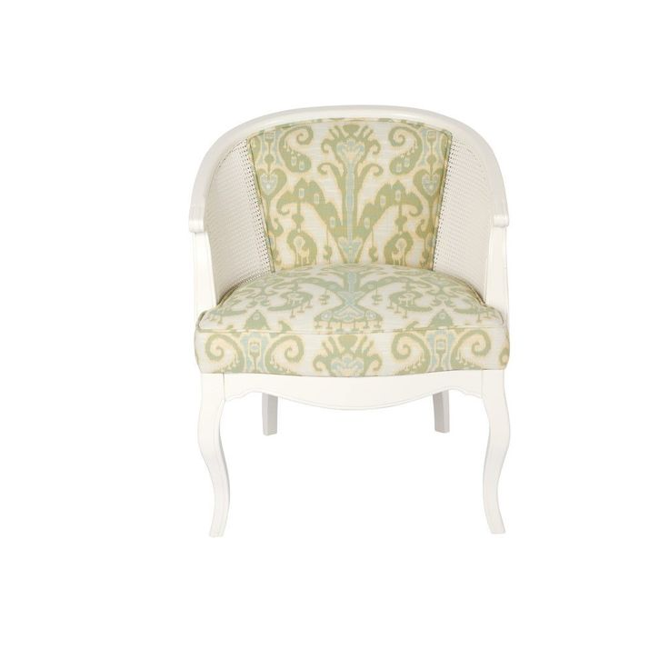 White Cane Bucket Chair with Ikat