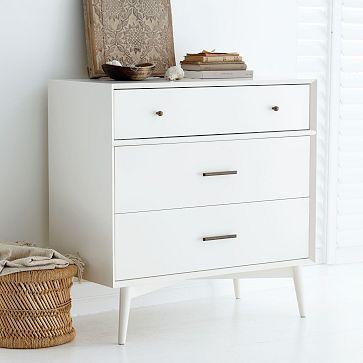 """Price: $699  Retailer: West Elm Mid-Century 3-Drawer Dresser - White Dimensions: 36""""w x 18""""d x 36""""h."""
