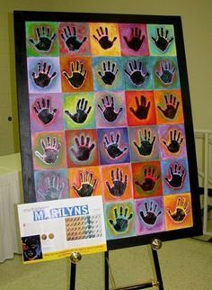 good group project/fundraiser project: black acrylic hand prints, watered down tempera on colored paper.